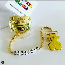 Chupeta Dourada Coroa Rolex c/ Prendedor Nome