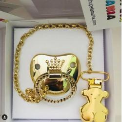 Chupeta Dourada Coroa Rolex c/ Prendedor