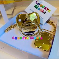 Chupeta Dourada Bonequinha c/ Prendedor